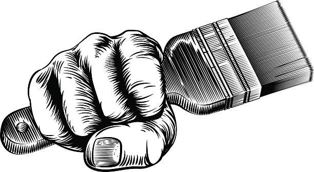 Woodcut Fist Hand Holding Paintbrush vector art illustration