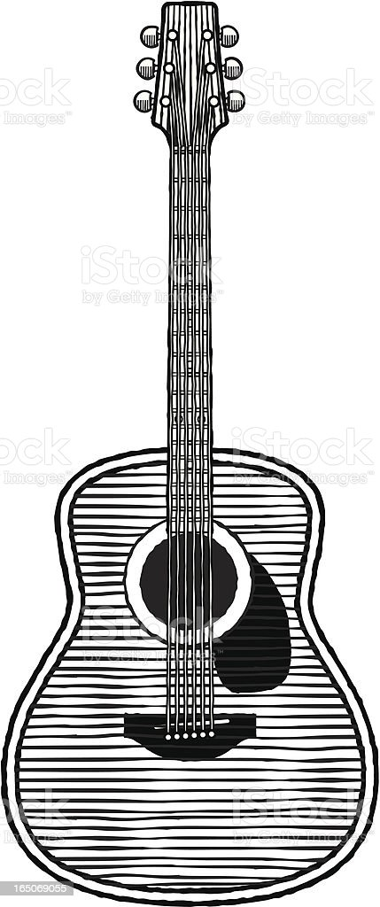 Woodcut guitar vector art illustration