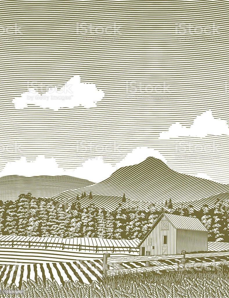 Woodcut Idaho Barn royalty-free stock vector art