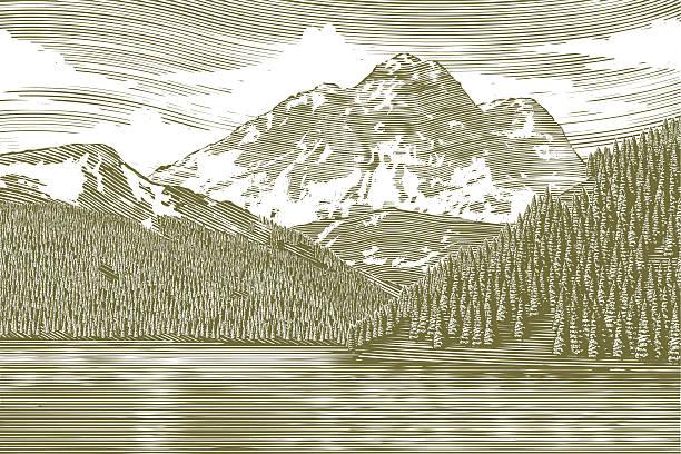 woodcut пейзаж с видом на горы - граттаж stock illustrations