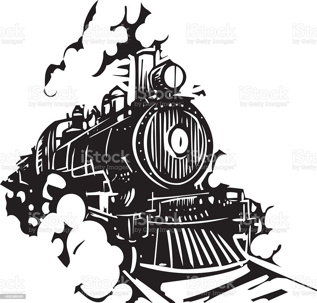 Woodcut Locomotive vector art illustration
