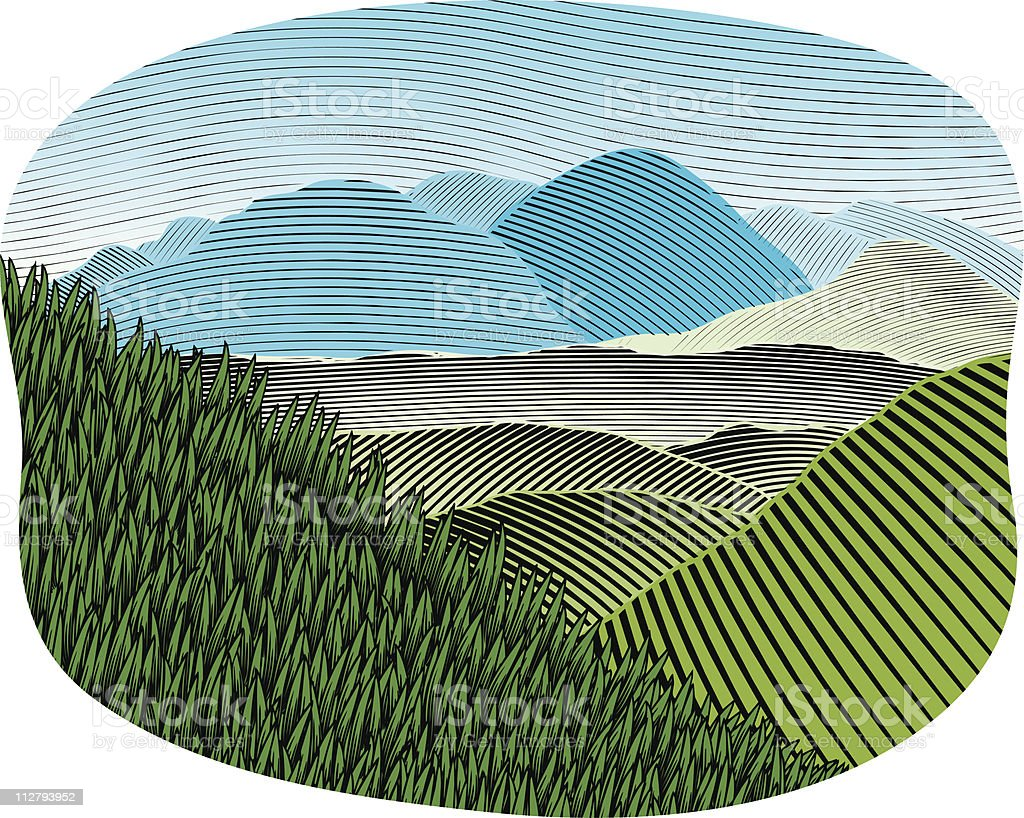Woodcut Mountain Landscape Color royalty-free woodcut mountain landscape color stock vector art & more images of art