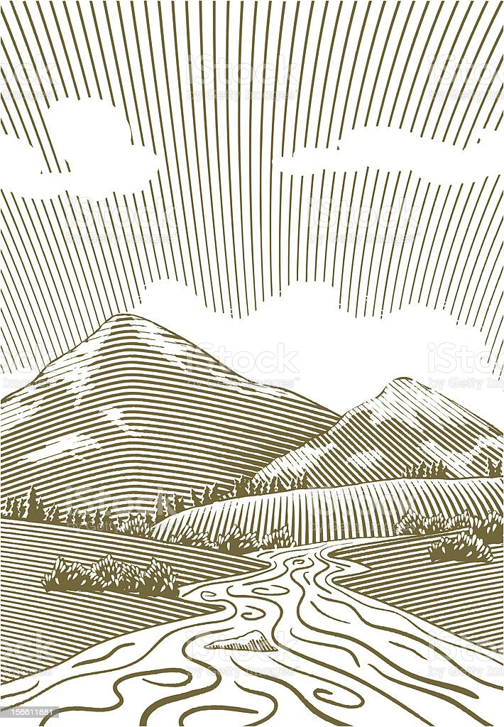 Woodcut Mountain Stream royalty-free woodcut mountain stream stock vector art & more images of engraved image