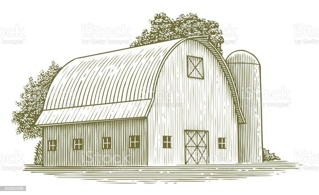 Woodcut Round Roof Barn vector art illustration