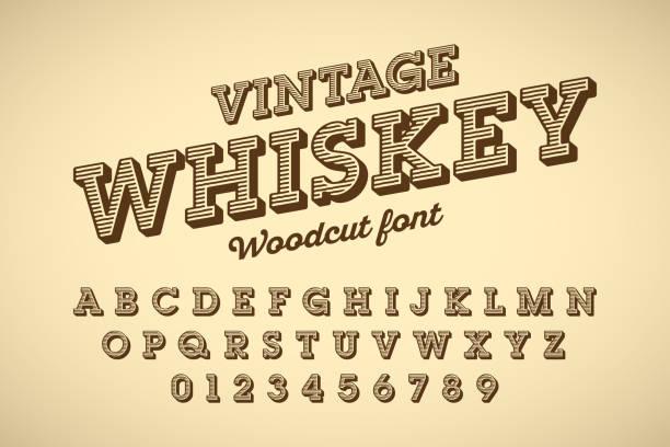 stockillustraties, clipart, cartoons en iconen met houtsnede vintage stijl lettertype - houtgravure
