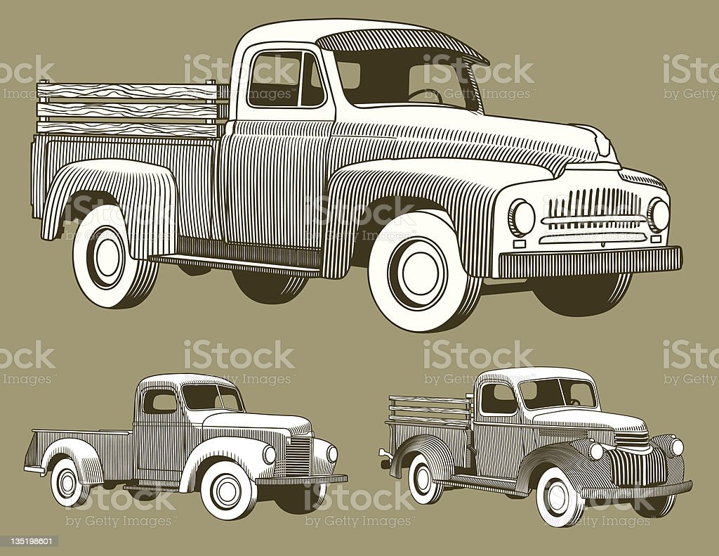 Woodcut Trucks vector art illustration