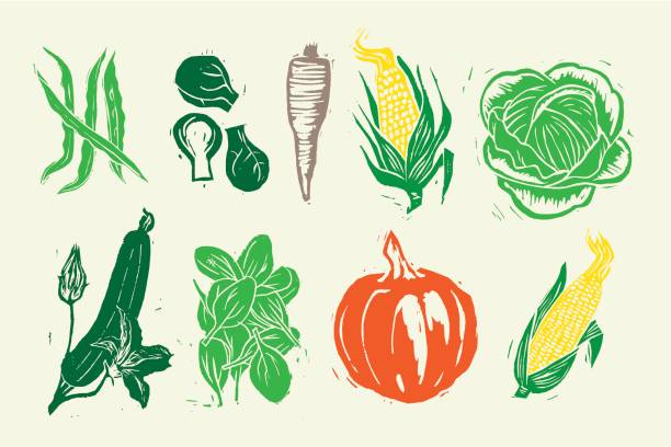 Woodcut Vegetables Woodcut Vegetables linocut stock illustrations