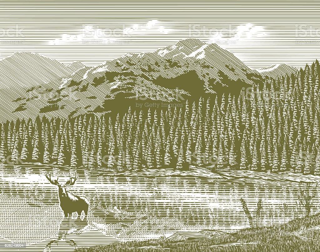 Woodcut Vintage Mountain vector art illustration