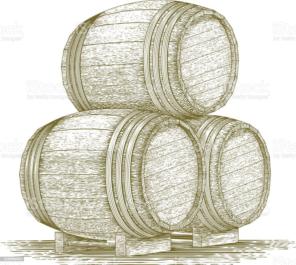 Woodcut Whiskey Barrel Stack vector art illustration