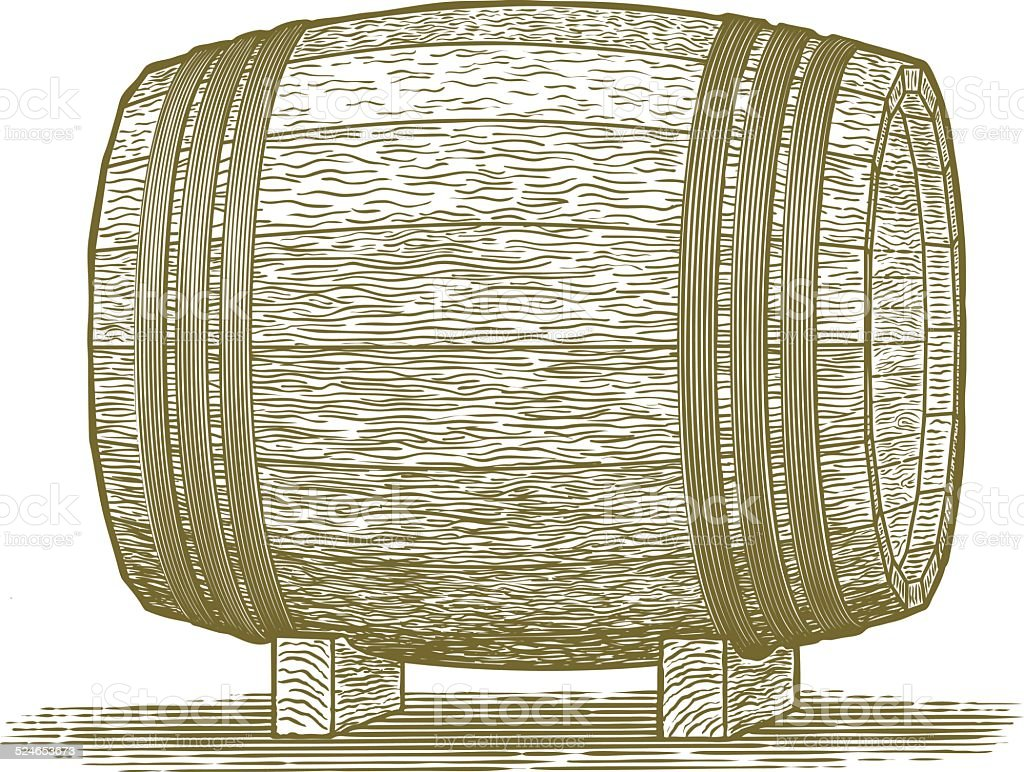 Woodcut Whiskey Barrel vector art illustration