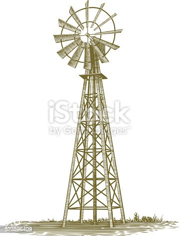 This sepia-toned vintage-looking woodcut-style vector illustration shows an isolated old farm windmill and works well for farm and old world design needs. This illustration was created in scratch board style.