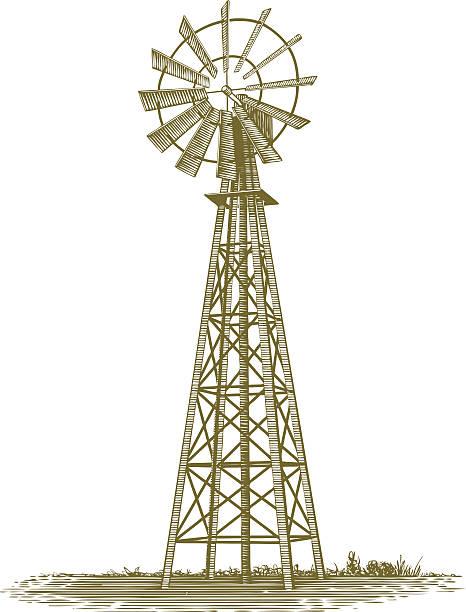 woodcut windmill - rüzgar değirmeni stock illustrations