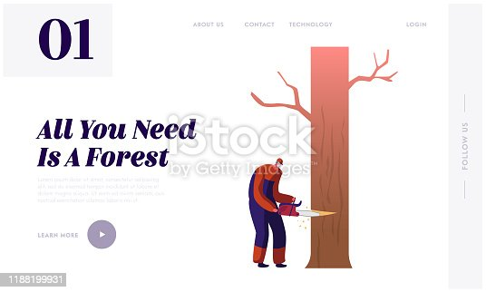 Woodcutter Job Website Landing Page. Lumberjack Male Character Sawing Tree with Chainsaw. Lumber Worker with Equipment and Tool Working in Forest Web Page Banner. Cartoon Flat Vector Illustration