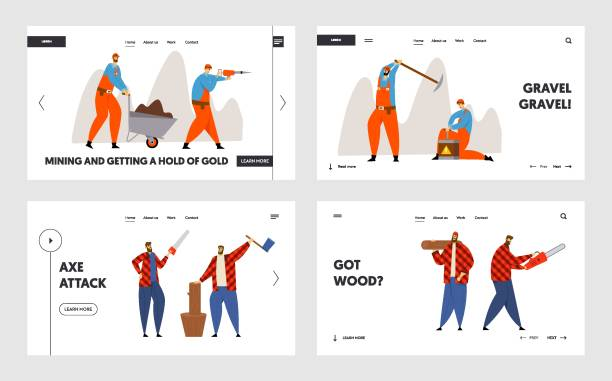 illustrations, cliparts, dessins animés et icônes de woodcutters and miners occupation job site web landing page set. lumberjacks working with axe and saw, workers with pickaxe and dynamite mining coal web page banner. illustration plate de vecteur de dessin animé - seulement des adultes