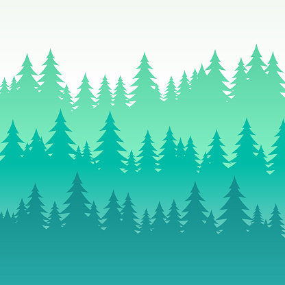 Wooded Pine Tree Layered Background