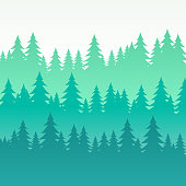 Abstract pine trees wooded layered background.