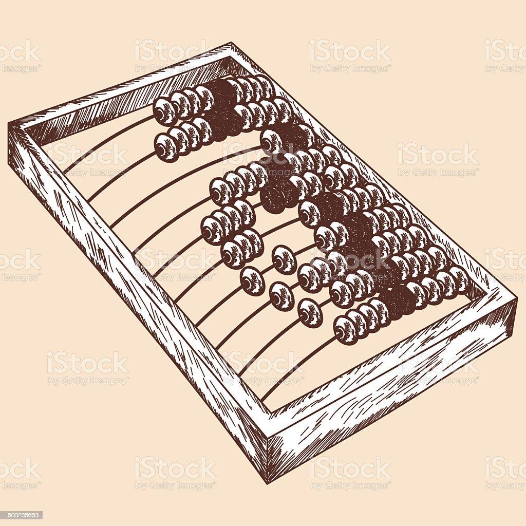Wooden abacus sketch vector art illustration