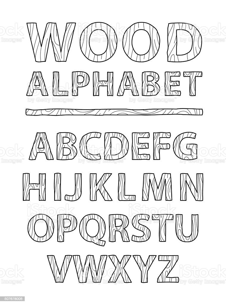 Wooden Alphabet And Font Style Hand Draw