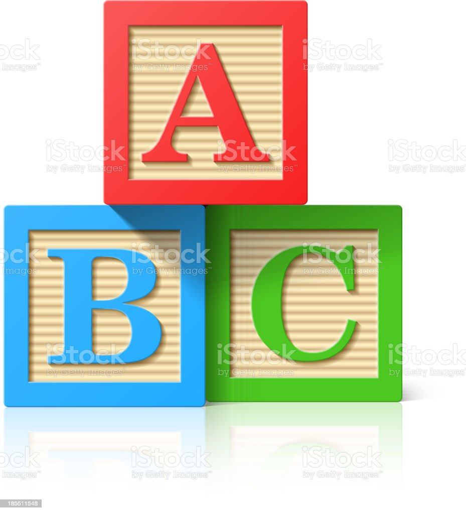Wooden alphabet cubes with A,B,C letters vector art illustration