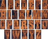 An alphabet composed from old wooden type.