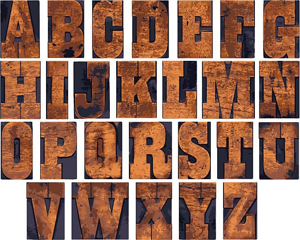 Wooden alphabet vector art illustration