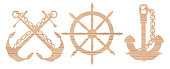 Vector Wooden Anchor and Helm