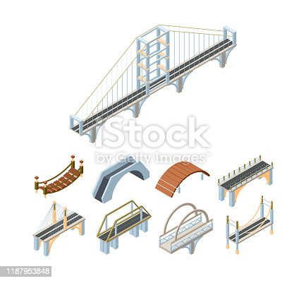 Wooden and concrete bridges isometric 3D vector illustrations set. Walkway and carriageway bridges constructions. Crossover architecture decor isolated pack. Urban landscape elements collection