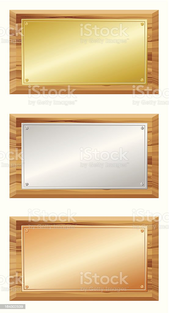 Wooden and metal boards royalty-free stock vector art