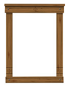 Vector. Wooden antique window or door frame. Scandinavian or Russian style. Ancient decor. Texture or background