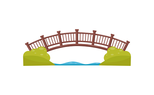 Illustration of wooden arch bridge. Walkway across the river. Footbridge made of wood. Decorative element for map of city park. Cartoon style icon. Colorful flat vector isolated on white background.