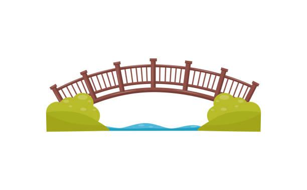 ahşap kemer köprü. geçit nehri. ahşap yaya köprüsü. düz vektör öğesi için şehir parkı haritası - bridge stock illustrations