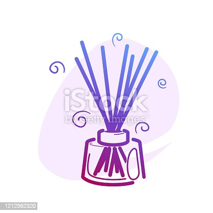 Wooden aroma sticks in glass jar color line icon with flat spot for round highlights stories. Liquid perfume oil. Essential air fragrance sticks aromatherapy. Spa and beauty pictogram isolated.