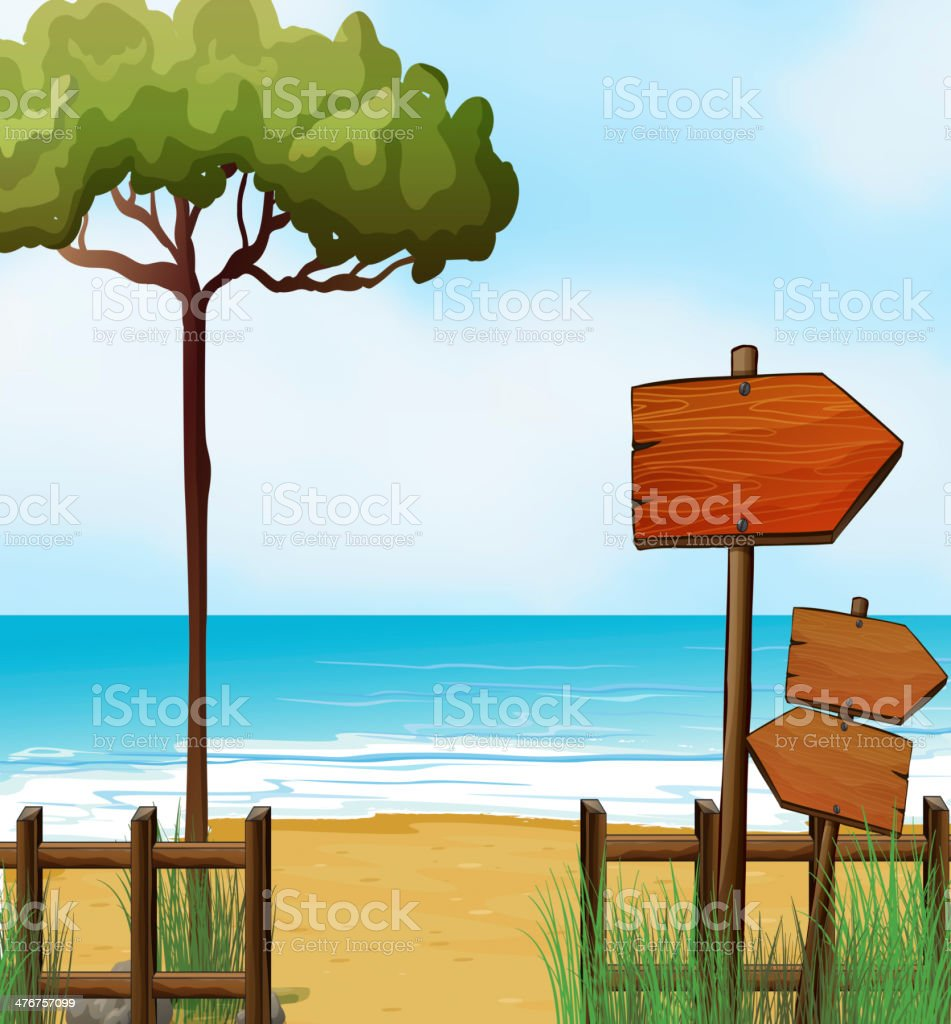 Wooden arrow signboards at the beach royalty-free stock vector art