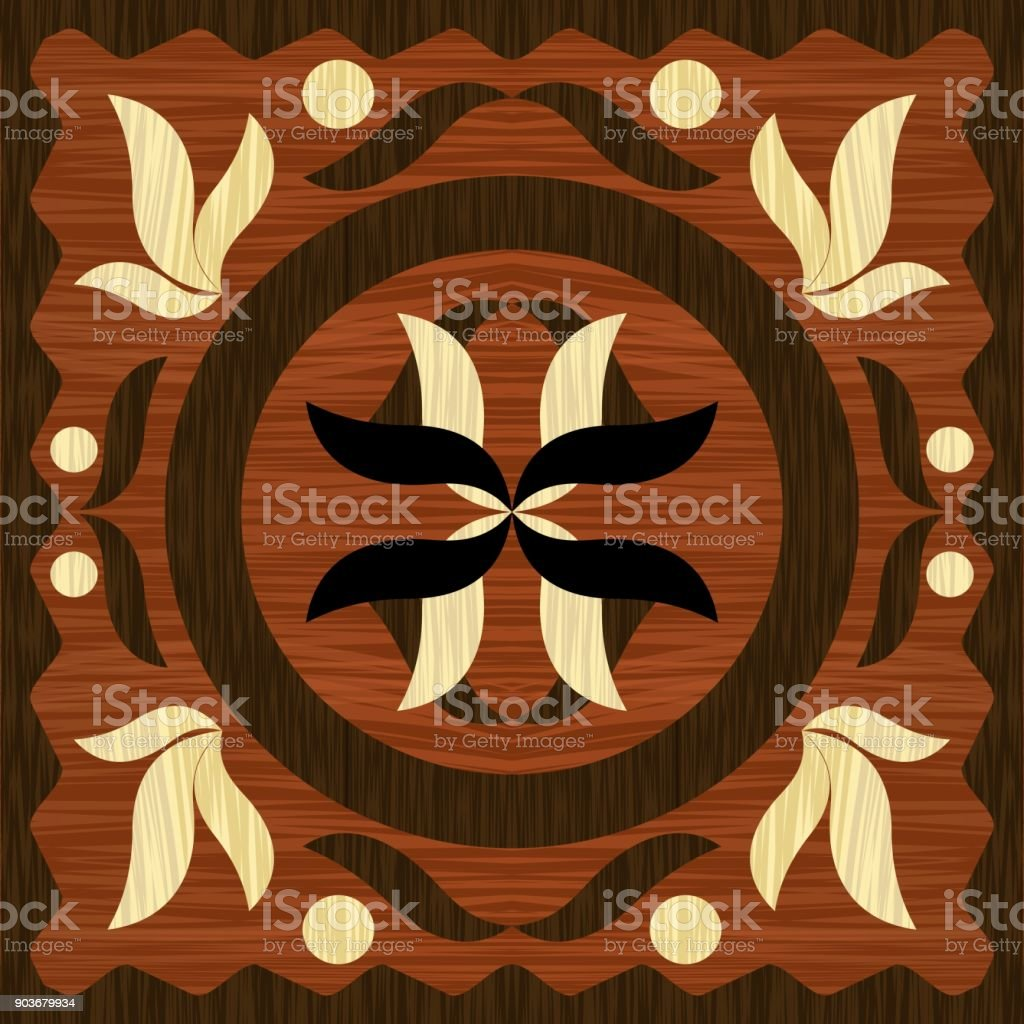Holzkunst Intarsien Fliesen Geometrische Ornament Aus Dunklen Und - Fliesen vintage stil
