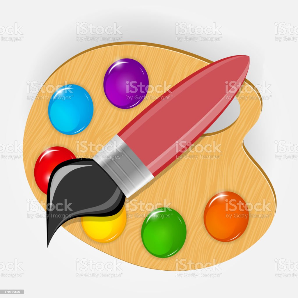 Wooden art palette with paints and brushe icon vector illustration royalty-free stock vector art