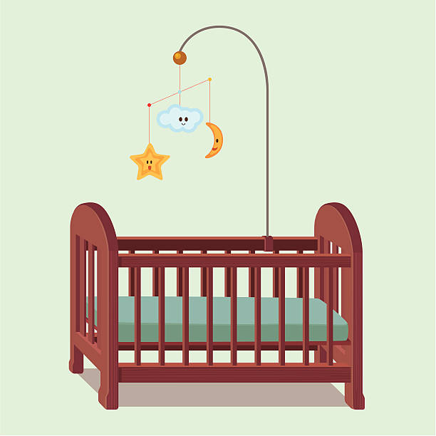 wooden baby crib An image of a bed for babies. crib stock illustrations