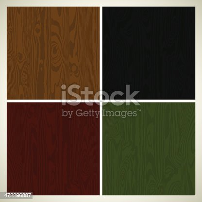 Four versions of abstract seamless background of red, green, black and brown wooden colored walls. EPS 10