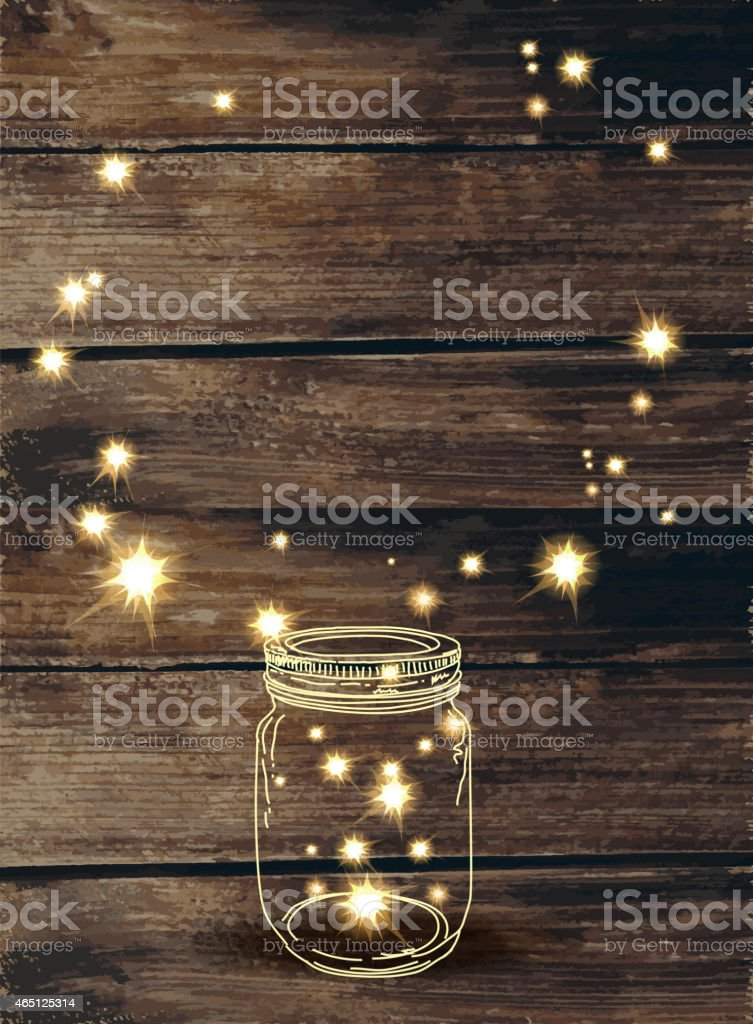 Wooden background with canning jar and pink sparkles vector art illustration