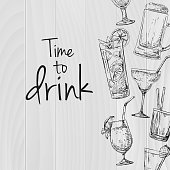 Wooden background with different cocktails. Caption: time to drink. Place on your text. Vector illustration of a sketch style.