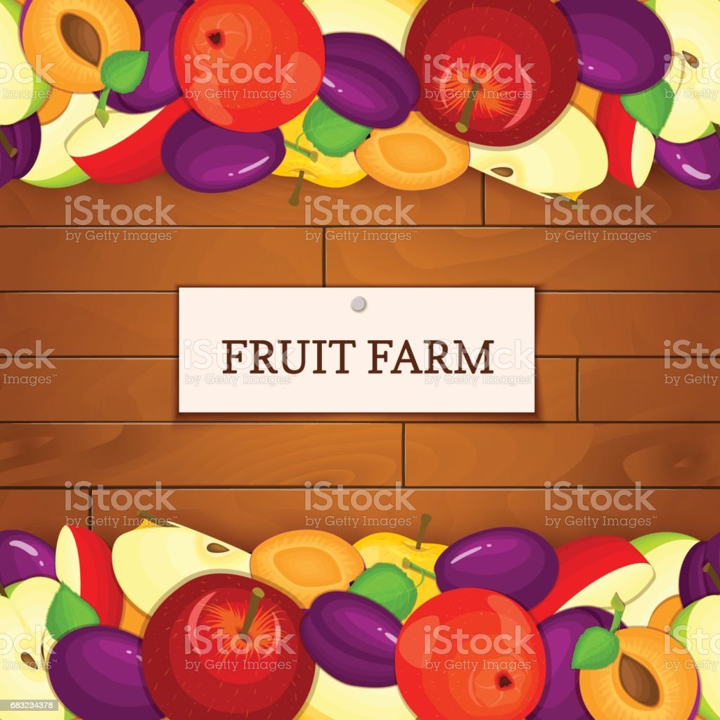 Wooden background with fruits. Vector illustration. royalty-free wooden background with fruits vector illustration 가을에 대한 스톡 벡터 아트 및 기타 이미지