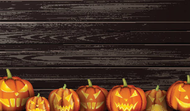 Royalty Free Background Of A Ugly Pumpkin Faces Clip Art Vector