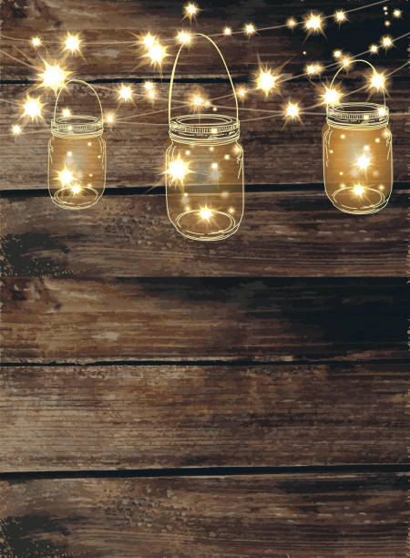 Wooden Background With Jar And String Lights Vector Art Illustration