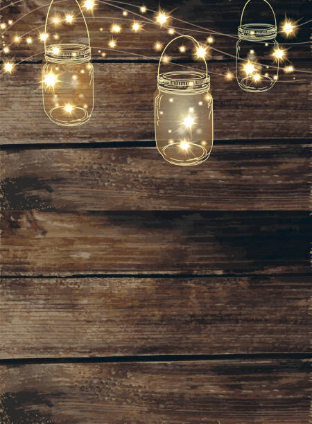 wooden background with  jar and string lights - light strings stock illustrations, clip art, cartoons, & icons