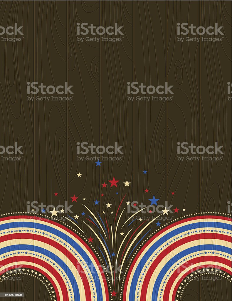 USA wooden background with stars. vector art illustration