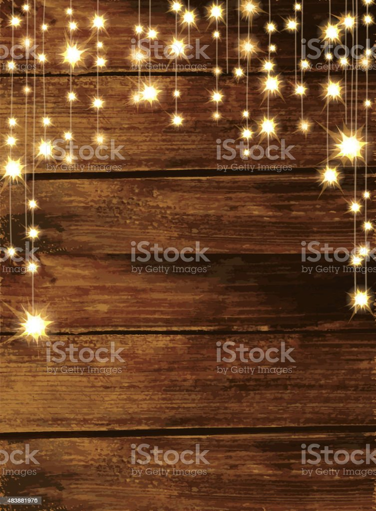 Wooden background with string lights vector art illustration