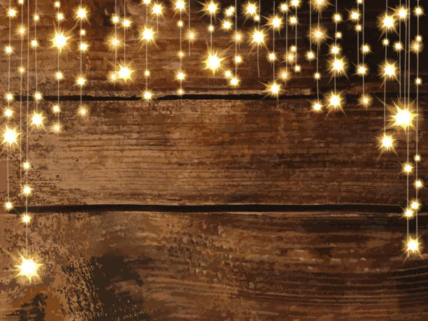 wooden background with string lights - light strings stock illustrations, clip art, cartoons, & icons