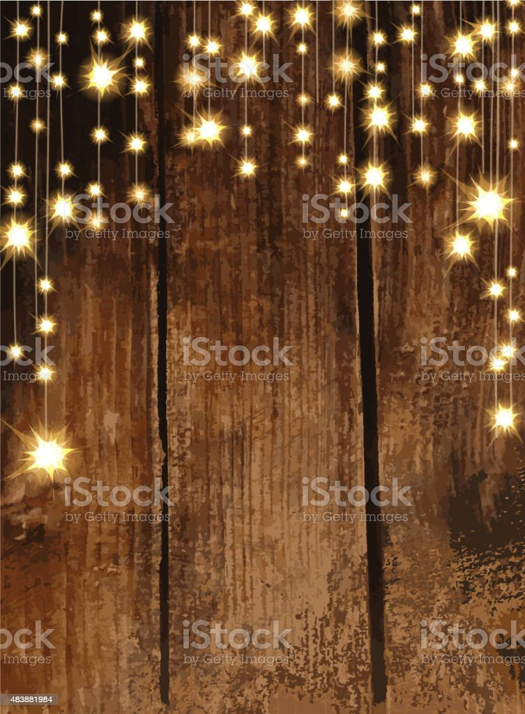 Wooden background with string lights vector art illustration