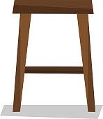 Wooden backless stool vector illustration