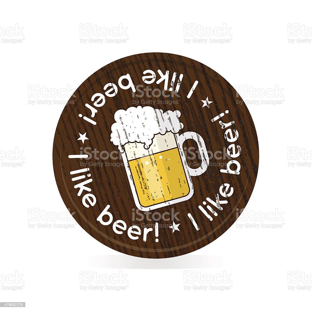 wooden badge for beer fans vector art illustration