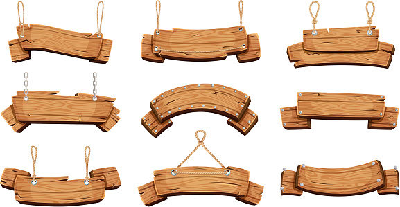 Wooden banners. Blank signboards with chains ropes and bolts vector tablet banners